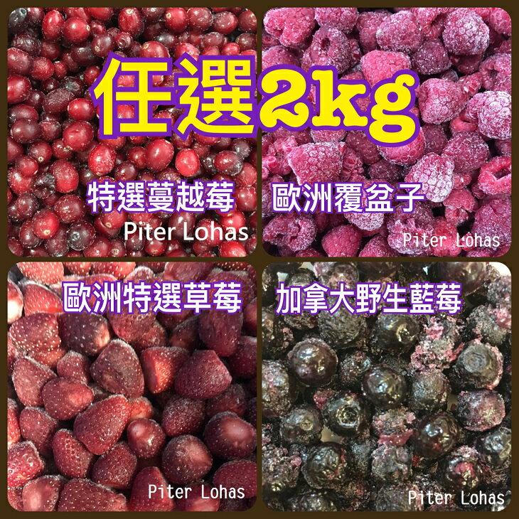 免運費!任選2公斤I.Q.F.急速冷凍莓果系列[特選頂級蔓越莓/覆盆子/草莓/野生藍莓/森林綜合莓果(前四種混和)]