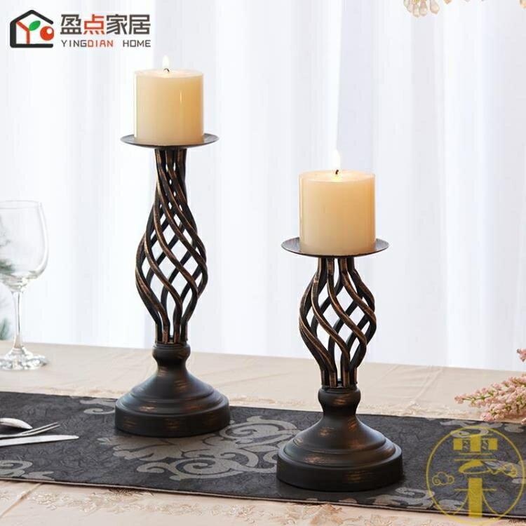 復古燭台擺件歐式美式鏤空蠟燭台燭光晚餐道具
