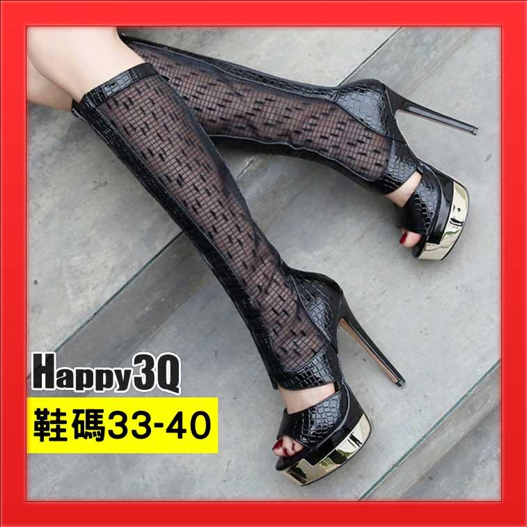 長靴蕾絲靴魚口鞋後拉鍊百搭靴子細跟高跟性感長靴歐美靴-黑33-40【AAA2693】