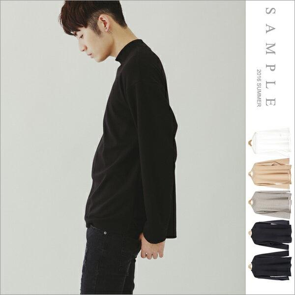 sample:現貨韓國製長T寬版半高領前短後長開衩素面【TL17004】-SAMPLE