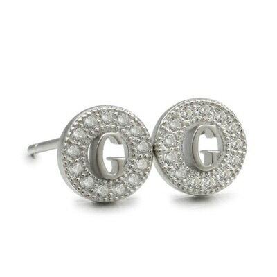 925純銀耳環鑲鑽耳飾~簡約 字母G 情人節 女飾品2色73dm117~ ~~米蘭 ~