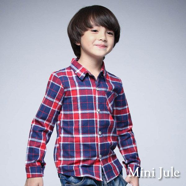 Azio Kids美國派:《MiniJule童裝》襯衫格紋單口袋長袖襯衫(紅)
