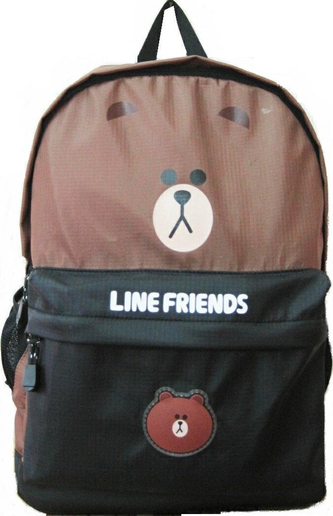 【禾宜精品】正版授权 Line Friends 熊大 黑棕色 休闲背包 书包 LI-5456-B [生活百货]