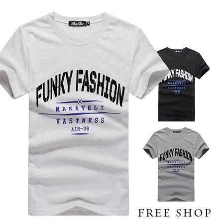 Free Shop~QR05059~美式休閒植絨文字雙面印花撞色圓領棉質短T短袖上衣潮T‧