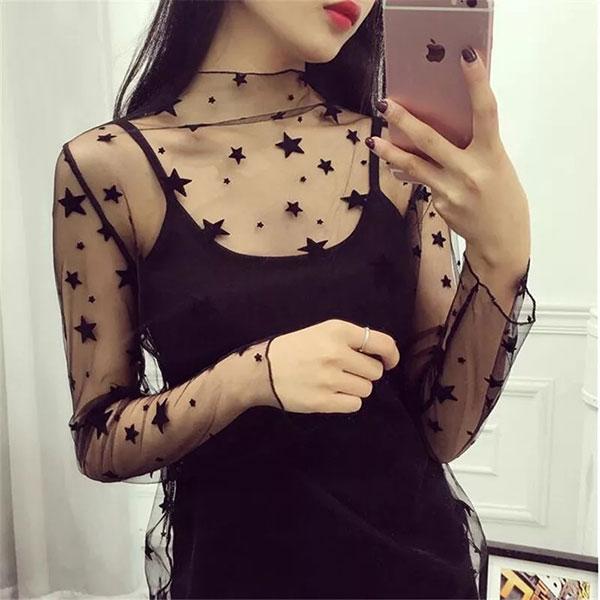 星星 漁網衣 網格 鏤空 網洞 網紗 透視 透膚 性感 蕾絲 透明 打底衫 小可愛 比基尼