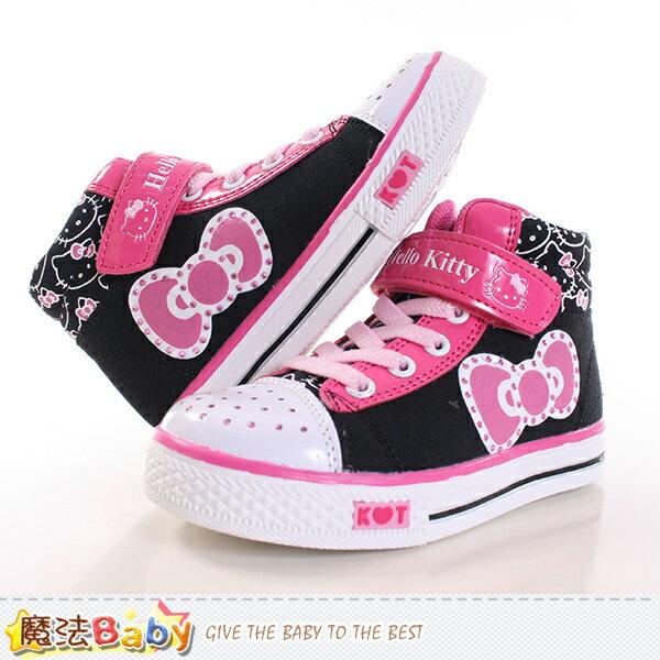 女童鞋 Hello Kitty正版潮款高筒帆布鞋 魔法Baby~sh9989
