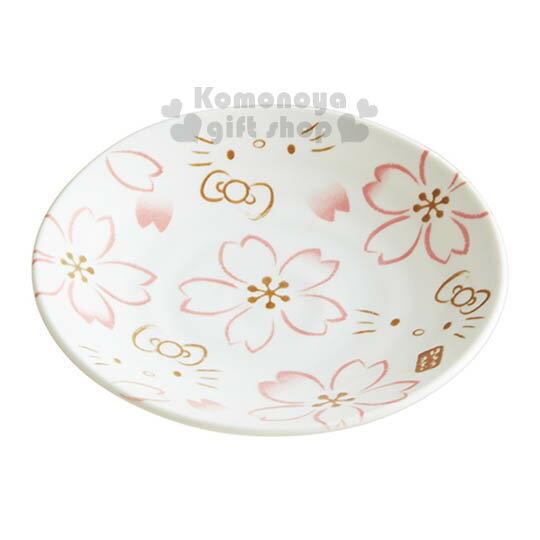 〔小禮堂〕Hello Kitty 日製陶瓷盤子《S.白.大臉.櫻花滿版.12cm》