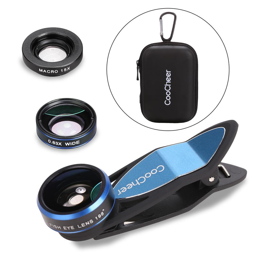 Universal 3 in1 Fisheye Lens Wide Angle Lens Macro Camera Lens Kit Clip On Magnetic Mount with Case for Digital Camera 0