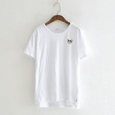 短袖T恤圓領上衣-簡約可愛小狗刺繡純色女打底衫4款73sy31【獨家進口】【米蘭精品】