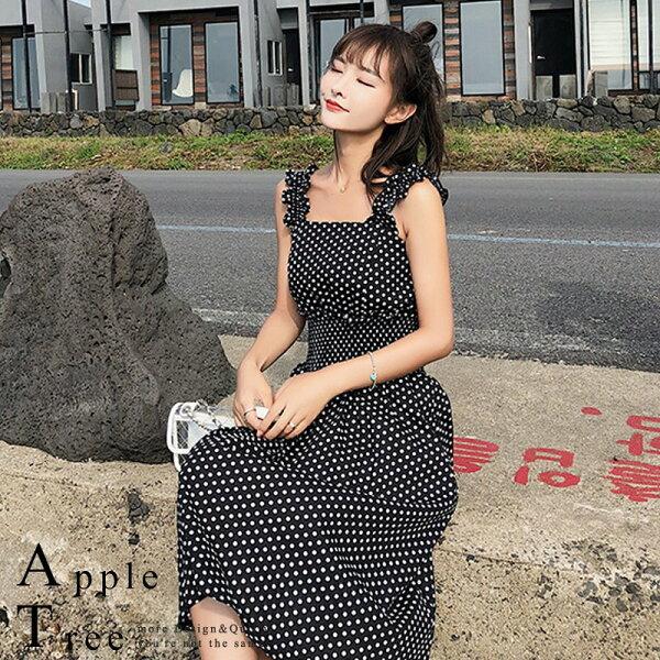 AT日韓-韓國,小點點露肩吊帶洋裝2色【806004】