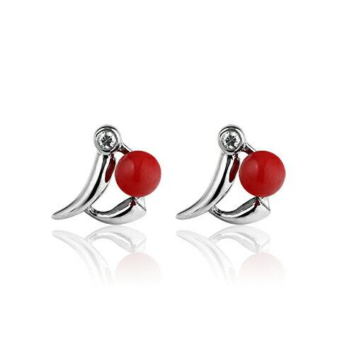大東山珠寶 鵲躍枝頭全紅珊瑚純銀耳環