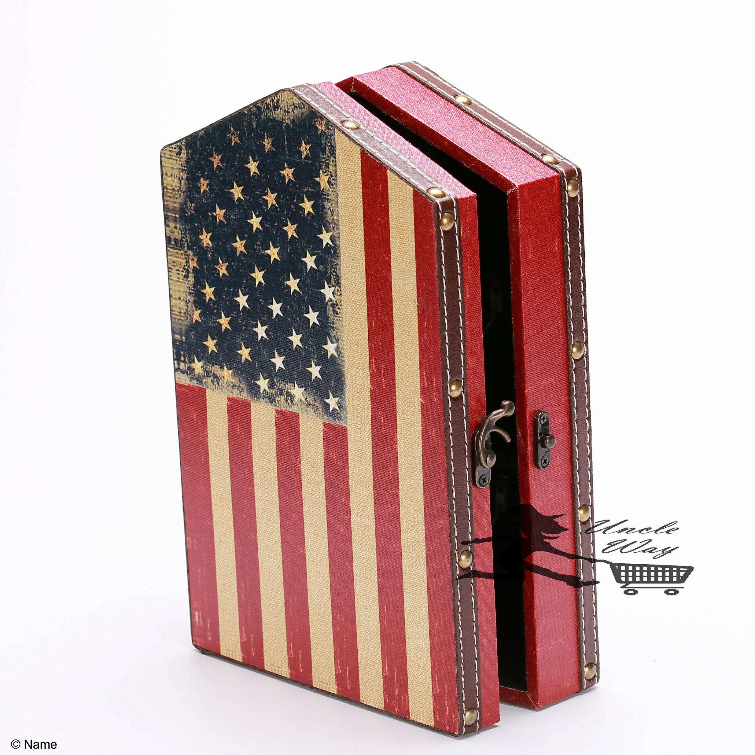 [Uncle way 百貨城堡] 英倫風木質鑰匙盒 美國旗 雜物鑰匙箱 遮擋箱 居家裝飾 ZAKKA 壁掛 居家裝飾
