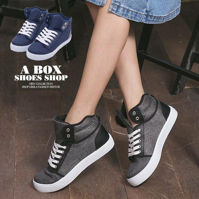 格子舖*【KBP-89】MIT台灣製 經典百搭女款高筒綁帶布面休閒鞋 滑板鞋 帆布鞋 2色 0