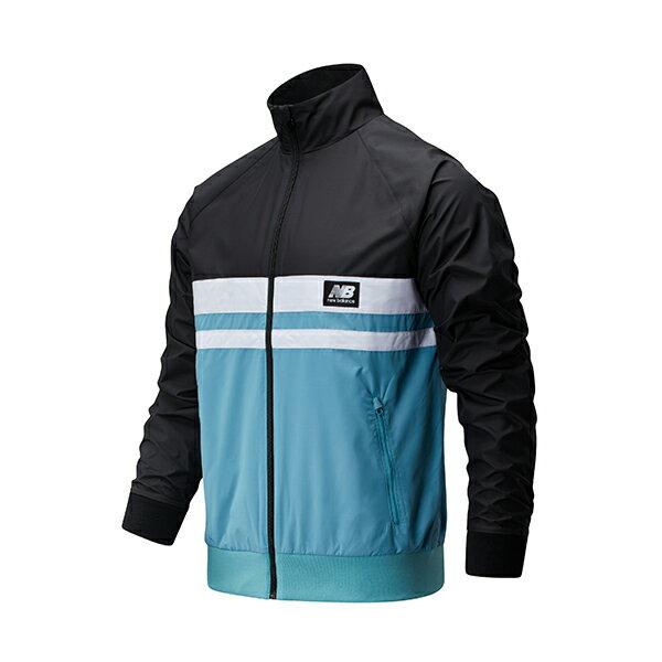 【NEW BALANCE】NB 懷舊系列配色 男裝 立領 夾克 黑藍 外套 -AMJ01503BK