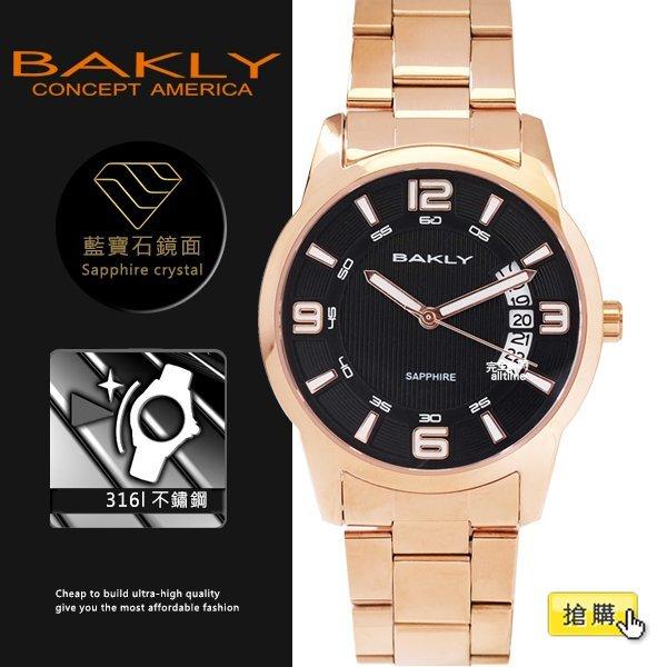 【完全計時】手錶館│BAKLY 美國意念 玫瑰鋼 BA3086-1 39mm m 藍寶石水晶玻璃 小b 扇形日期 玫瑰金