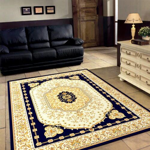 紅寶石波斯宮廷風絲質地毯-藍寶