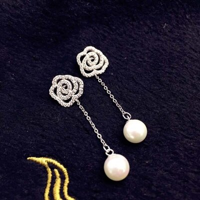 925純銀耳環珍珠耳飾~優雅玫瑰花 氣質情人節生日 女飾品73ld10~ ~~米蘭 ~