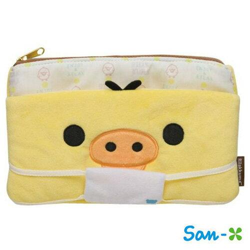 小雞款【日本進口】San-X 拉拉熊 口罩收納包 化妝包 面紙包 懶懶熊 Rilakkuma - 681582