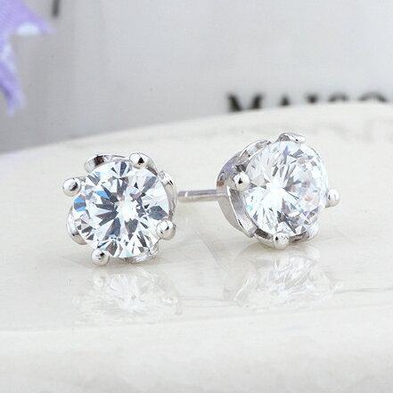 ~925純銀耳環鑲鑽耳飾~簡單 生日情人節 女飾品2色73dz7~ ~~米蘭 ~