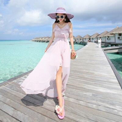 波希米亞長裙-甜美氣質開岔下擺連衣裙2色73sg51【獨家進口】【米蘭精品】