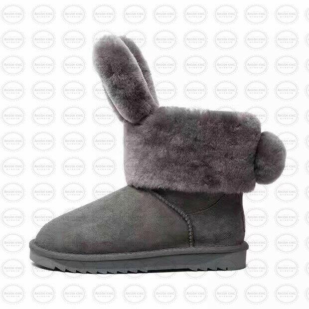 OUTLET正品代購 澳洲 UGG x DUEPLAY 聯名兔耳朵 雪靴 保暖 真皮羊皮毛 雪靴 短靴 灰色 2