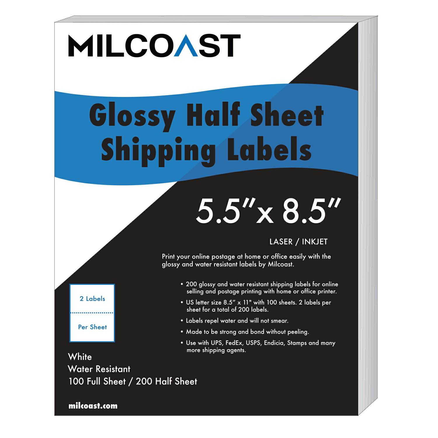 Milcoast 200 Half Sheet Shipping Labels Glossy Water Resistant for Laser or  InkJet Printer 5-1/2