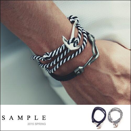手環【AC12623】韓國製 雙色麻繩船錨釦手環【Sample】