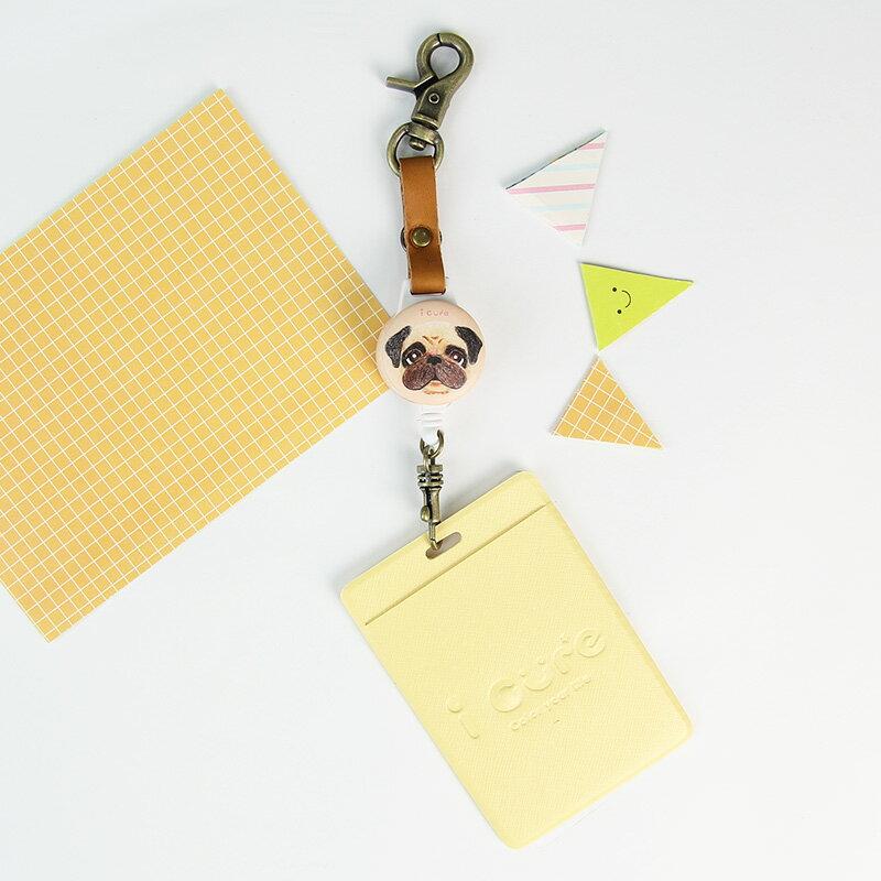 i 好鉤伸縮證件票卡夾-手繪風-巴哥 哈巴狗 票卡夾 悠遊卡 動物 伸縮拉環 真皮 狗