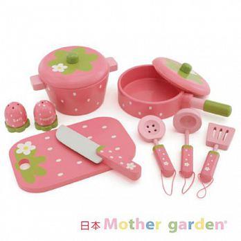 日本【Mother Garden】野草莓廚具小幫手9件組(深粉)