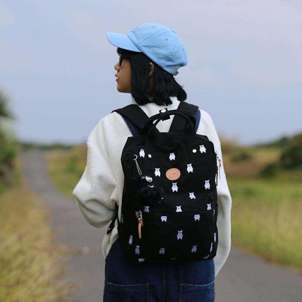後背包-deya熊後背包 刺繡帆布 MIT台灣製造 加贈deya熊玩偶 2
