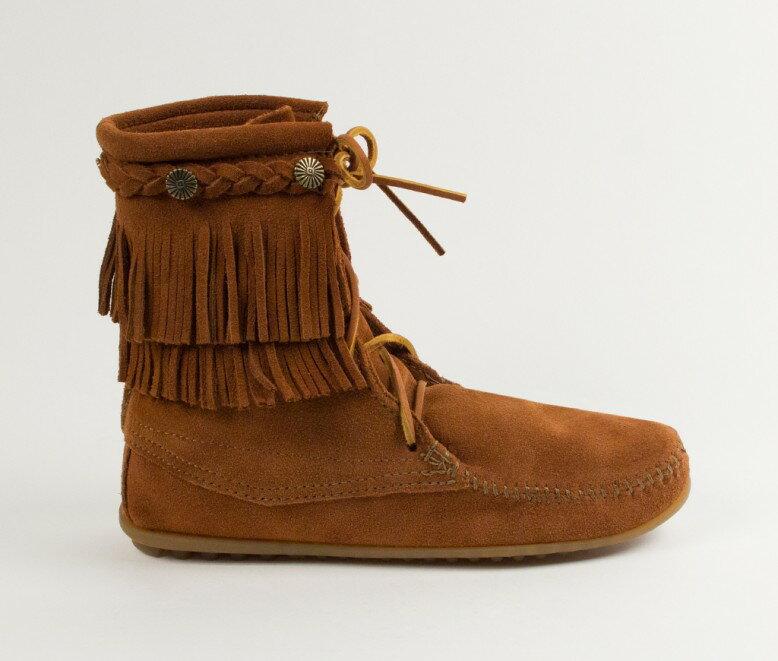 【Minnetonka 莫卡辛】棕色 -純手工雙層流蘇短靴【全店免運】 3