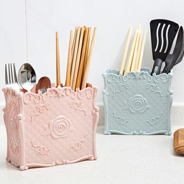 古典風玫瑰花紋分格瀝水餐具收納架-單入/安娜蘇風/置物架/可超取/不挑色隨機出貨〔網購家〕