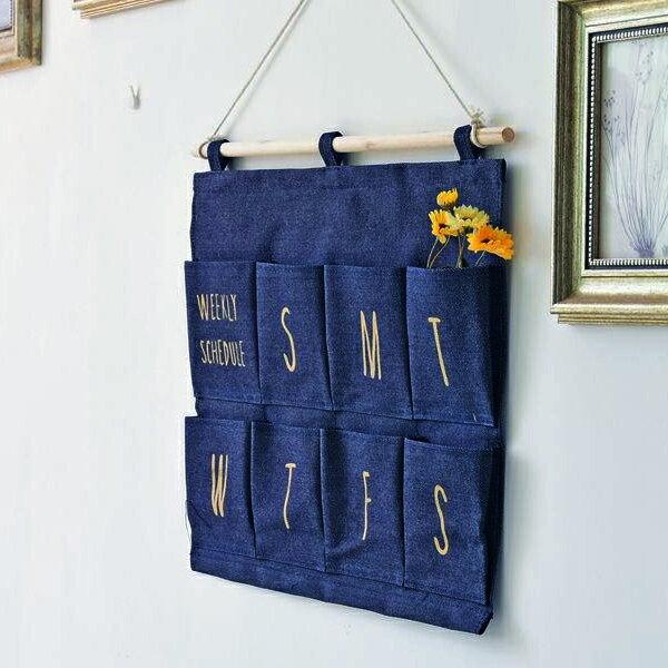 棉麻牛仔布門後收納掛袋/掛繩設計/黑藍白灰 四色可選〔網購家〕