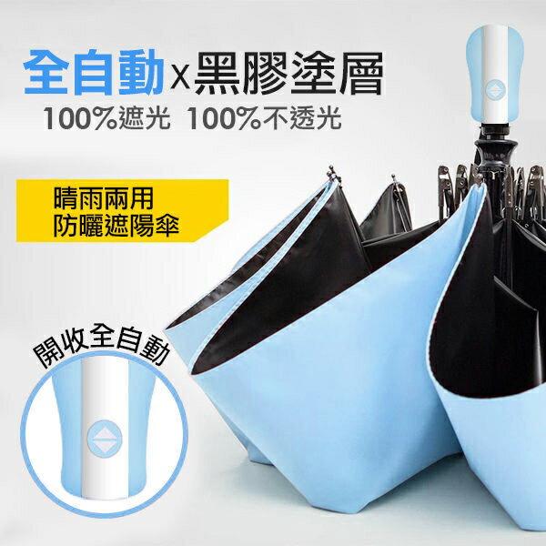 晴雨兩用摺疊自動傘-藍色↘免運/遇水浮花雨傘/黑膠防曬遮陽傘〔網購家〕