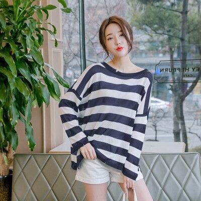 韓系日系女裝針織衫圓領超薄長袖條紋T恤樂天時尚館。預購。[全店免運]