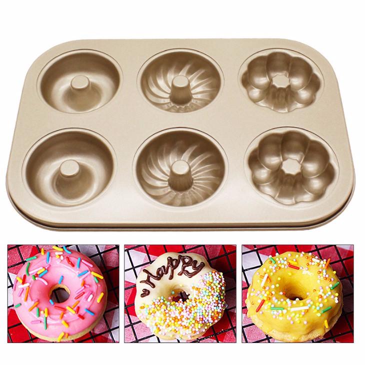 烘焙具匠 不沾6連蛋糕模具 貓爪 甜甜圈 烤盤6連烤盤 DIY西點麵包模具 碳鋼