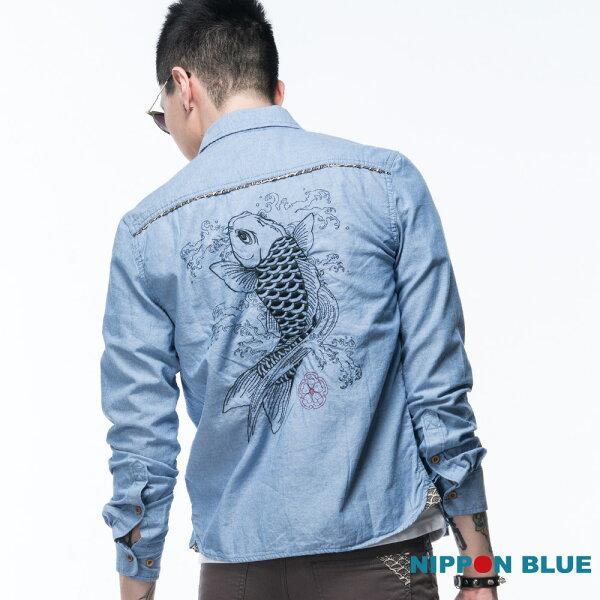 【限時5折】日本藍鯉魚花布拼接長袖襯衫-BLUEWAYNIPPONBLUE日本藍