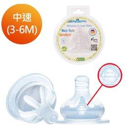 【淘氣寶寶】Pacific Baby 美國寬口徑德製防漏防脹氣奶嘴2入組-中速中圓洞(3-6個月)