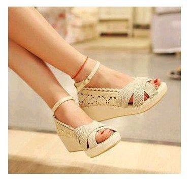 Pyf ? 棉麻編織 簍空蕾絲感 防滑休閒鞋 寬楦楔型涼鞋 43 大尺碼女鞋