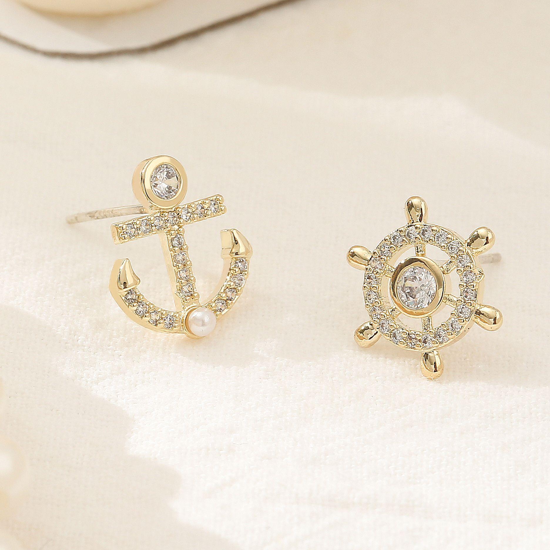925銀針船錨船舵不對稱耳釘女簡約小巧冷淡風耳環時尚氣質耳飾品
