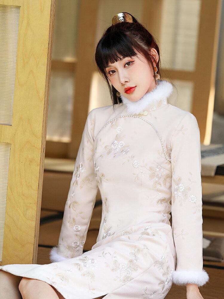 旗袍秋冬唐裝加厚珍珠毛呢2121年改良中國風過年年輕款少女連身裙 【私人小鋪】