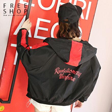 Free Shop:FreeShop女款潮流個性款撞色背後字母印花連帽運動外套擋風外套夾克紅色黃色黑色【QMDM9019】