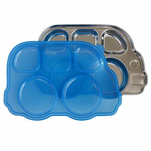 美國 Innobaby 不鏽鋼巴士造型餐盤(附蓋) 巴士餐盤不鏽鋼餐盤【藍色】