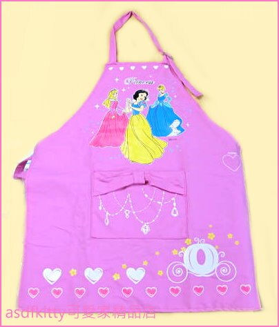 asdfkitty可愛家☆二手商品出清-迪士尼公主粉紅色兒童用圍裙+袖套+頭巾-韓國正版商品