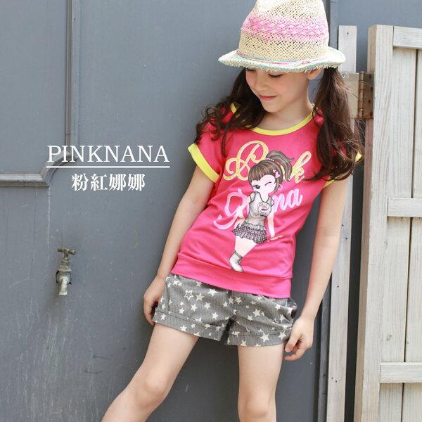 Pink Nana:PINKNANA童裝女大童娜配色大印花純棉短袖上衣36168