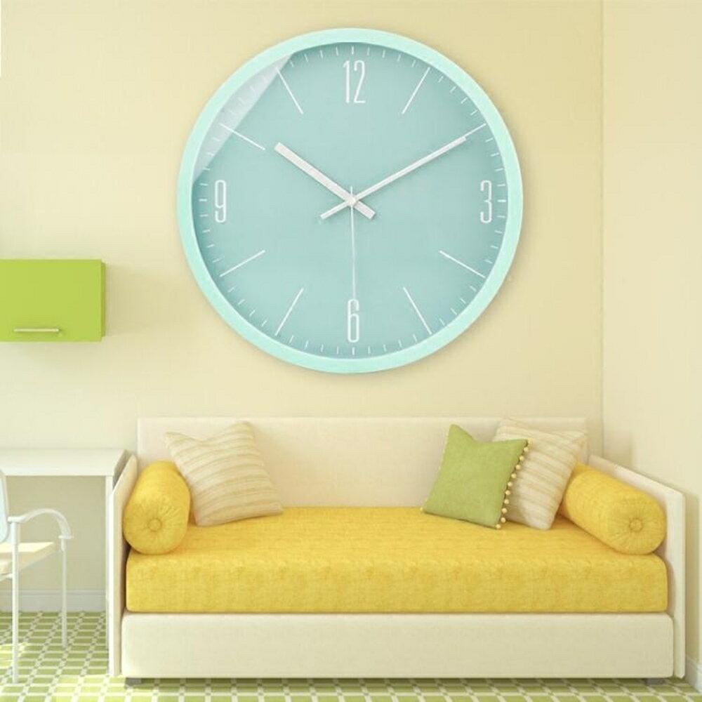 掛鐘現代簡約馬卡龍鐘錶掛鐘石英鐘客廳創意臥室大氣時鐘掛錶靜音錶    都市時尚DF