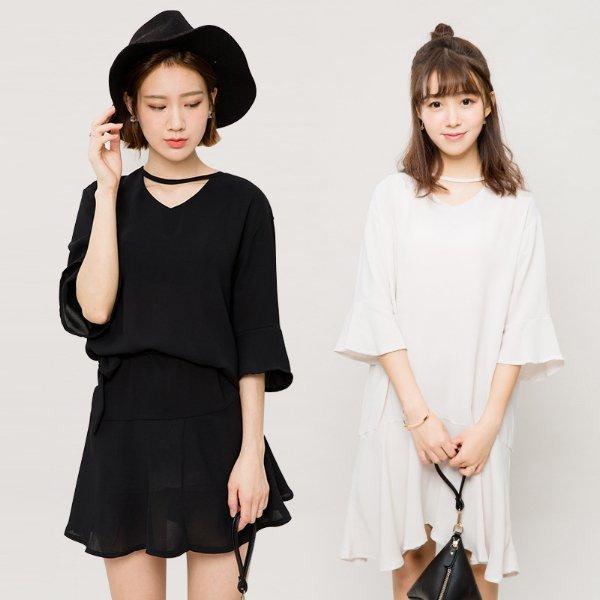 *漂亮小媽咪*韓國品味 荷葉袖 不規則裙襬 五分袖 中長裙 孕婦裝 純色喇叭袖孕婦洋裝 LA1915