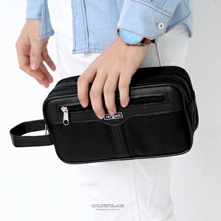 <br/><br/> 手提包 全黑雙層拉鍊收納包 柒彩年代【NZ504】<br/><br/>