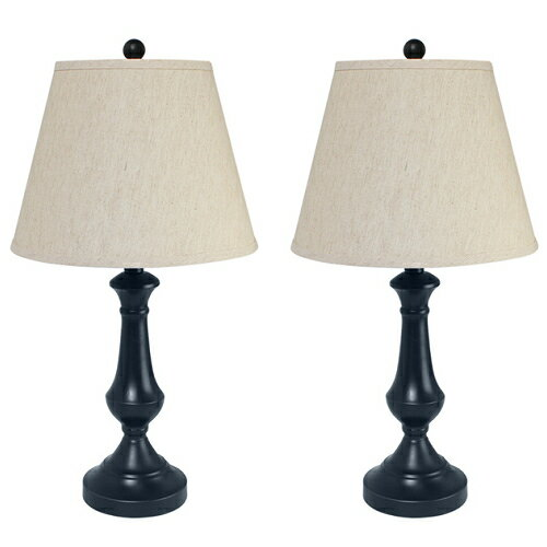 Haitral Contemporary Table Lamp Metal stand Set of 2 for decorating living  room bed room, T0318-02 Color Black