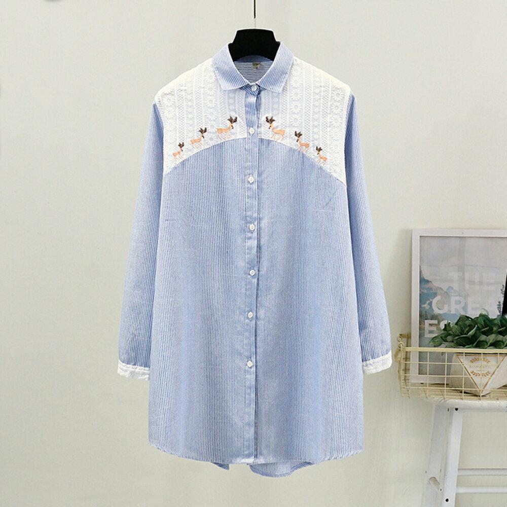 日系森女系條紋碎花刺繡中長款棉麻襯衫(藍色F碼)*ORead*
